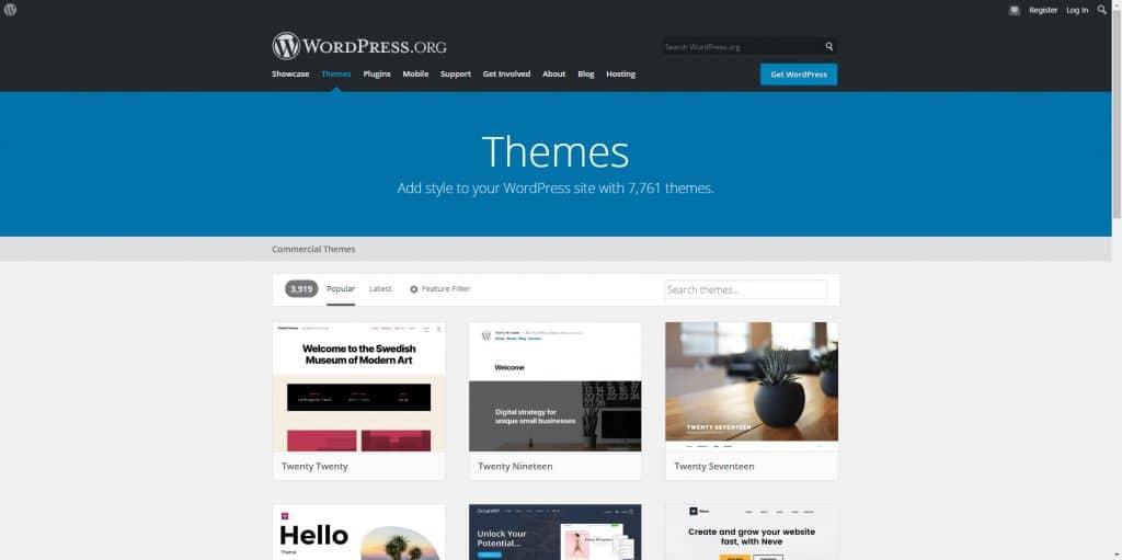 دانلود قالب وردپرس از سایت WordPress.org