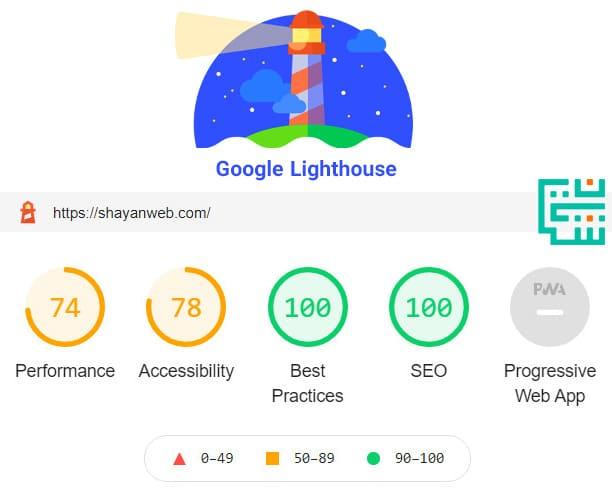 آنالیز سایت شایان وب با گوگل لایت هوس | Google Lighthouse | گوگل لایت هاوس سایت شایان وب