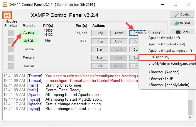 اسکرین شات php.ini نرم افزار زمپ xamp